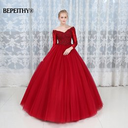 Short Red Lace Prom Vintage Dress Australia - Robe De Soiree Ball Gown Lace Top Evening Dress Party Elegant 2019 Long Sleeves Floor Length Vintage Prom Gowns Y19042701
