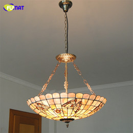 living rooms lights NZ - FUMAT Tiffany Shell Shade Chandeliers Indoor Lighting Living Room Flowers &Butterflies Decor Vitrage Lightings For Living Room