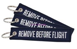 $enCountryForm.capitalKeyWord Australia - 30 PCS Navy blue Remove Before Flight Chaveiro Tag Embroidery Keychain Key Ring for Aviation OEM phone Key Chains Jewelry Luggage Tag