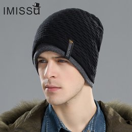 IMISSU Men s Winter Hat Knitted Wool Beanie Skullies Fashion Casual Caps  Solid Colors Ski Gorros Cap Casquette Hats for Men C18112301 5e0652473142