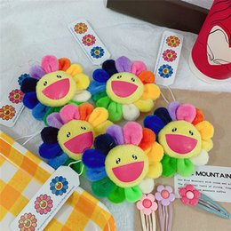 Small Stuffed toyS online shopping - Cute smile cartoon sunflower plush toys creative Brooches stuffed toys small pendant Denim Hat Badge Collar decoration kids toys