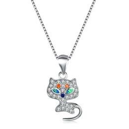 $enCountryForm.capitalKeyWord Australia - Boho Female Cat Animal Pendants Necklaces Fashion 925 Sterling Silver Wedding Jewelry Blue Fire Opal Necklaces For Women