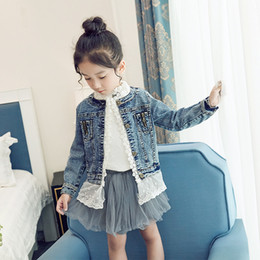 $enCountryForm.capitalKeyWord NZ - Boutique Kid's Girl's Denim Outfits Fashion Girls Lace Denim Jacket with Lace Children Clothing Outerwear & Coat
