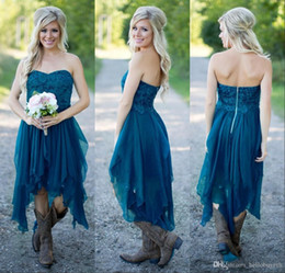 $enCountryForm.capitalKeyWord NZ - Country Short Bridesmaid Dresses 2019 Hot Cheap For Wedding Teal Chiffon Beach Lace High Low Ruffles Party Maid Honor Gowns Under 100