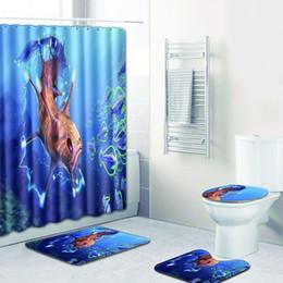 $enCountryForm.capitalKeyWord Australia - HobbyLane 4pcs set Shower Curtain + Bath Carpet With Rubber Back Suit For Bathroom Durable And Washable Rug Toilet Seat Cover