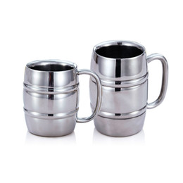 $enCountryForm.capitalKeyWord Australia - 300ML 430ML Bamboo Barrel Shape Double Wall Water Cups Stainless Steel Beer Mugs Tea Coffee Camping Travel Tumbler