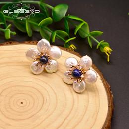 $enCountryForm.capitalKeyWord Australia - Glseevo Natural Fresh Water Baroque Pearl Lapis Lazuli Flower 925 Sterling Silver Stud Earring For Women Fine Jewellery Ge0598 J190703