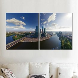 $enCountryForm.capitalKeyWord Australia - 2 sets canvas print modern pictures moscow city skyscrapers bridges wall art painting fine art for home decoration