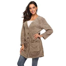 $enCountryForm.capitalKeyWord Australia - New Pop Autumn Winter New Women Cardigan Fuzzy Coat Thick Pocket Button Plus Size Knitted Sweater Ladies Casual Coat Blouses F