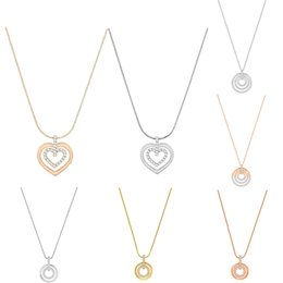 double circle glasses NZ - FAHMI SWA Circle Heart-shaped Rose Necklace Three-ring Double Ring Temperament Clavicle Chain Female Jewelry Simple Round Element