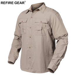 hiking shirt men NZ - ReFire Gear Summer Outdoor Shirt Men Quick Dry Pockets Camping Shirt Spring Breathable Removable Long Sleeve Hiking Shirts