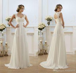 Images Brooch Flowers Australia - 2019 Stunning Beautiful Wedding Dress Cheap Chiffon Beach Wedding Dresses Open Back Lace Cap Sleeve Bridal Gown
