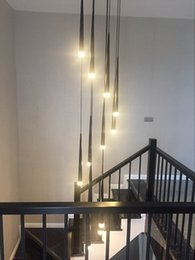 $enCountryForm.capitalKeyWord Australia - Modern Meteor Chandelier Nordic Drop Long Cylinder Iron Pendant Tube Light Lamp for Living Room Loft Staircase Kitchen