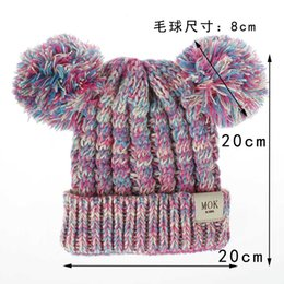 Hair fasHion boy Hot online shopping - hot sales Children s hat wool knit hat autumn and winter new twist woven double ball hair boys and girls hat