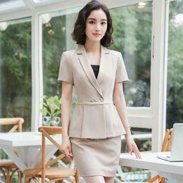 Ladies Work Uniforms Australia - Plus Size Elegant Summer Women Blazers 2 Pieces Set Pleated Tops Mini Skirt Set Ladies Office Work Wear Uniforms Sets