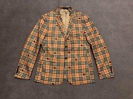 $enCountryForm.capitalKeyWord Australia - UK Fashion Mens Designer Jackets Blazer Fully lattice War horse printed Mens designer blazers Top quality Luxury men blazer High men jacket