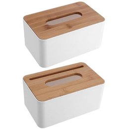 green rubber phone holder NZ - Plastic Tissue Box Waterproof Bamboo Wooden Cover Holder Kitchen Storage Office Home Car Organizer with Phone Slot