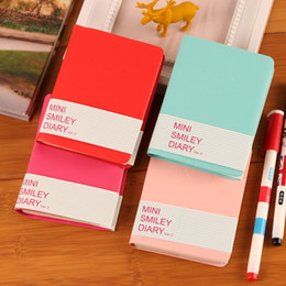 Discount leather bound books - Hot Sale Cute Colorful Mini Smile Leather Notebook 8*10.5CM student pocket notepads Fashion Diary for Business office bo