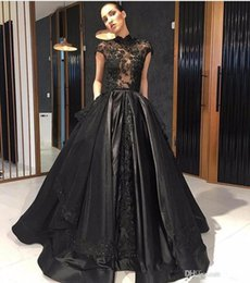 line high back tulle evening dresses UK - Black Prom Dress High Neck Cap Sleeve Handmade Appliques Lace Satin Floor Length A Line Evening Gowns Custom Size robes de soiree