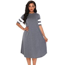 546474a94a Plus Size Holiday Dresses UK - New Casual Women Midi Jersey Dress O Neck  Striped Half