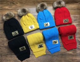 Beanies Hats For Kids Australia - Children Cable Acrylic Knitted Pom Beanie Scarfs 2PCS Set For Kids Winter Yarn Thick Warm Hats Fur Ball Scarves Baby Sports Snow Caps Gorro