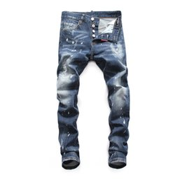 Wholesale torn trousers fashion resale online – designer New Men s Tear Jeans Tear Jeans Navy Blue Cotton Fashion Tight Spring and Autumn Men s Trousers DN