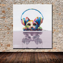 $enCountryForm.capitalKeyWord Australia - Hot sale wall pictures HD printed animal listening music cat Wall art Picture Home Decor for Living Room on Canvas Printing no framed