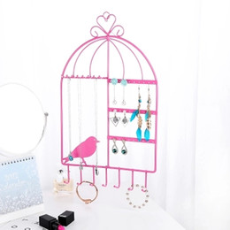 $enCountryForm.capitalKeyWord NZ - wholesale Birdcage Shape Wall Mount Jewelry Organizer Hanging Earring Holder Necklace Display Stand Rack 44.5cm H Three Colors