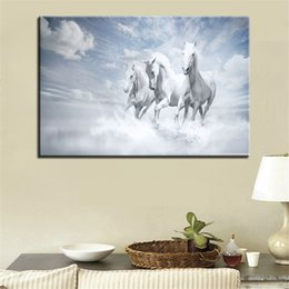 horse run painting Australia - 1 Piece HD Printed Canvas Pictures Wall Art White Running Horses Painting Home Decoration Poster For Living Room Framework