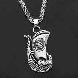 $enCountryForm.capitalKeyWord Australia - Nordic Viking odin raven Huginn and Muninn valknut stainless steel Nordic pendant necklace with gift bag