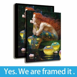 Mermaid Print Canvas Australia - Painting Waterhouse Redhead Mermaid HD Print Office Decor Wall Art Canvas Framed Art - Ready To Hang - Support Customization