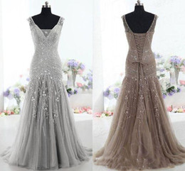 T shirTs waTer drops online shopping - 2018 High Quality Brown Evening Dress Drop Waist V Neck Mermaid Court Train Beading Sequins prom dresses Tulle Mother of the Bride Dress