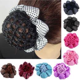 Dance hair nets online shopping - 1PC Fashion Girl Women Dot Shiny Bun Cover Snood Ballet Dance Skating Hair Net Crochet Hairband Hair Accessories