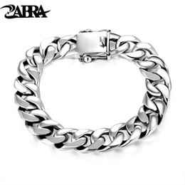 mens bracelets 925 silver Canada - ZABRA Luxury 925 Sterling Silver Bracelets Man High Polish Curb Link Chain Bracelet for Men Vintage Punk Rock Biker Mens Jewelry SH190925