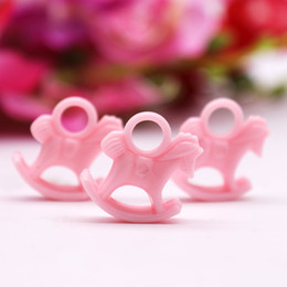 Horse Birthday Party Decorations Australia - heap DIY Decorations 24pcs pack Cute Baby Shower Gift Pink Girl Resin Rocking Horse Gifts Resin Accessories Birthday Party Favors Kids P...