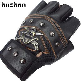 black leather gloves half fingers NZ - Hot Sale Fitness Gloves Gym Tactical Leather Gloves Men Half Finger Skull Sport Black Workout Motorcycle AGL006