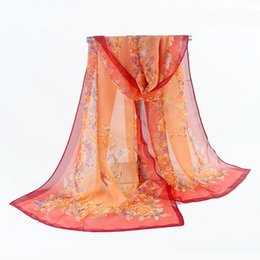 flower hijabs UK - 2019 New Women Chiffon Silk Scarfs Fashion Spring Square polyester Scarves Print flowers Shawl Summer Shawls And Hijabs