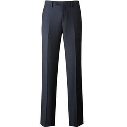 $enCountryForm.capitalKeyWord UK - 2019 New High Quality Men's Zipper Fly Wrinkle-resistant Suit Pants Formal Business Meeting Suit Pants Navy Blue for Men