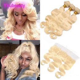 venda por atacado Peruana Virgem cabelo 613 Pacotes de onda de corpo loiro com laço frontal 3 pacotes com orelha frontal de renda 13x4 para orelha 613 # cor 8-30inch