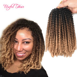 kinky twist hair piece Canada - Spring twist crochet braids hair extensions ombre blonde bouncy hair curly with ombre brown blonde short spring tiwst hair extensions marley
