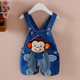 Lovely Jumpsuits Australia - good quality Baby Boys Overalls Lovely Summer Boys Cartoon Jumpsuit Kids Toddler Boys Denim Summer Cartoon Jumpsuit Toddler