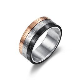 Roman Numerals Ring Wholesale Australia - 2019 Rotatable 3 Part Roman Numerals Calendar Ring Men Stainless Steel Cool Punk Spinner Male Jewelry Band with Date Time
