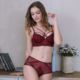 Wholesale bra cup b sizes resale online - Roseheart Women Fashion Red Sexy Lingerie Underwire Panties Padded Lace Bras Push Up Bra Sets Underwear Cup A B C Plus Size