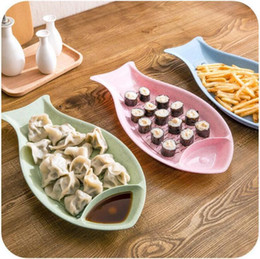 $enCountryForm.capitalKeyWord Australia - Wheat Straw Dishes Double-layer Drain Dumpling Plates Sushi Set Tool Fish Shape Snacks Plate Anti Slip Wear Resistant Fruits Tray Dinnerware