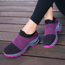 black running shoes for women NZ - Big Size Chunky Sneakers Woman Running Shoes Sport Size 35 Summer Sports Shoes for Women Walking Ladies Black Purple D-441