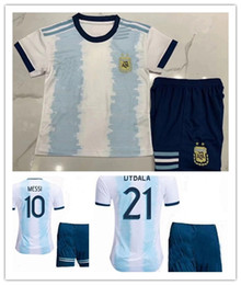 argentina l short NZ - 2019 Kids kit Argentina soccer Jersey youth boy MESSI home Soccer Jerseys 19\20 Child Aguero Di Maria Dybala away Soccer jersey shorts