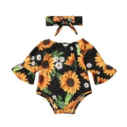 infant leopard print UK - Newborn Infant Baby Girls Long Sleeve Sunflower Print Romper Jumpsuit Headband Outfits Girl Clothes