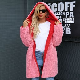plus size faux fur coats hood 2019 - Winter Warm Hairly Cardigan Jackets Faux Lambswool Thick Women Hooded Hoodies Coat Plus Size Autumn Outerwear Overcoat c