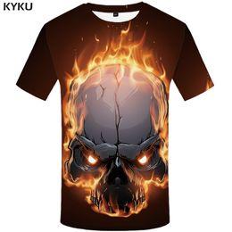 Ivory Lycra Shirt Australia - wholesale Brand Skull T Shirt Men Space Tshirt Fire Graphic 3d Print T-shirt Punk Rock Clothes Funny Hip Hop Mens Clothing Summer