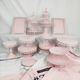 cupcake display stands Canada - Wholesale 12 Pcs Decoration Supply Wedding Crystal Metal Set Pink Display Vintage Cupcake Tool Pop Cake Stand